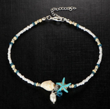 CaliBLING Beaded Starfish Charm Anklet