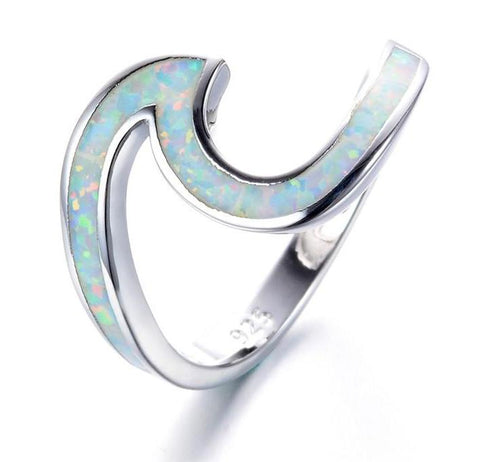 opal wave ring, fire opal wave ring, silver wave ring, pure vida ring