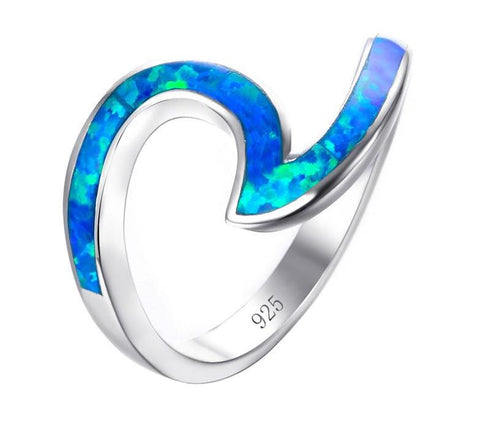 Blue Fire Opal Wave Ring