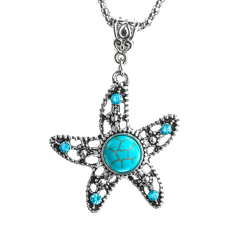 Turquoise Starfish Pendant Necklace
