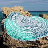 turquoise mandala beach throw, blue mandala beach towel