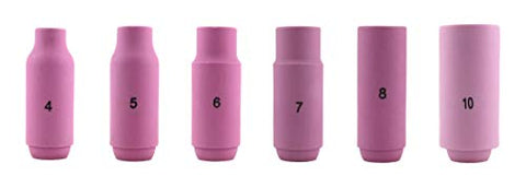 Alumina Nozzle Cups for TIG Welding Torches Series 17/18/26 with Standard Set-Up - Assorted Sizes - Regular and Long