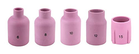 Alumina Nozzle Cups for TIG Welding Torches Series 9/20/25/17/18/26 with Large Diameter Gas Lens Set-Up - Assorted Sizes - Regular, Long and X-Long