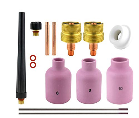Consumables Kits for 9-20-25 Series TIG Torches - Large Diameter Gas Lens Set-Up