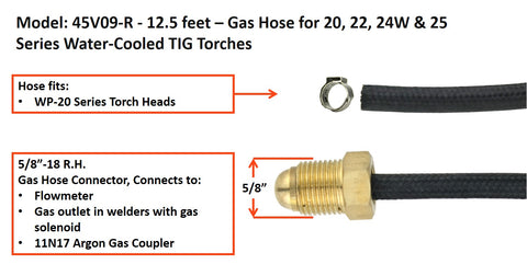 TIG Torch Gas Hose for Water-Cooled TIG Torches - 20 Series and 18 Series