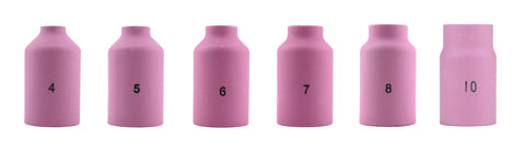 Alumina Nozzle Cups for TIG Welding Torches Series 17/18/26 with Gas Lens Set-Up - Assorted Sizes - Regular and Long