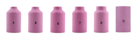 Alumina Nozzle Cups for TIG Welding Torches Series 17/18/26 with Gas Lens Set-Up