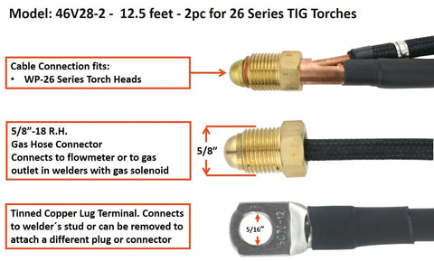 TIG Torch Power Cable - 2pc for 26 Series TIG Torches, 46V28-2 & 46V30-2