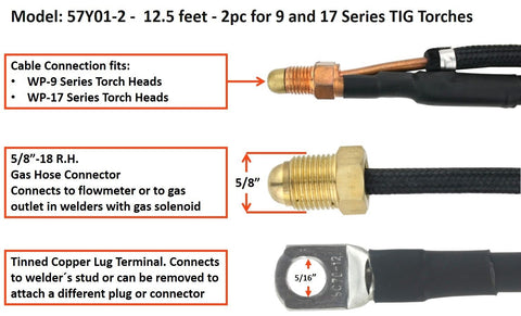 TIG Torch Power Cable - 2pc for 9 and 17 Series TIG Torches, 57Y01-2 & 57Y03-2