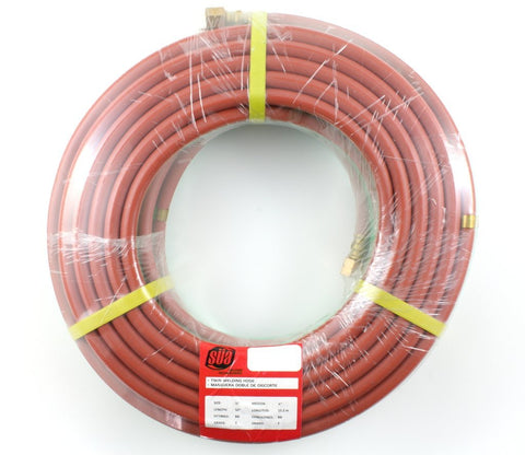 "50 FEET Grade T 1/4"" OxyFuel Welding & Cutting Twin Hose with BB Fittings SÜA"