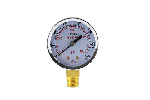 "Pressure Gauge for Oxygen Regulator - 1/4"" Connector"