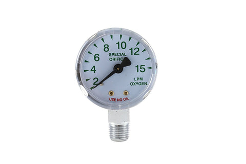 "Oxygen Pressure Gauge - Chrome Plated - 1/4"" Connector"