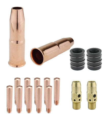 MIG Gun Consumables Kit - Compatible with Lincoln/Magnum 300 & 400 and Tweco #3 & #4-54A Diffuser - 34A Insulator - Heavy-Duty Tip - 24A Nozzle