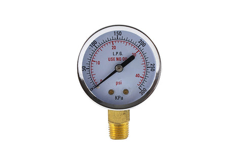 "Pressure Gauge for Propane Regulator - 1/4"" Connector"