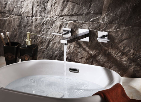 Sanipro Modern Two-Lever Wall Mounted Basin Mixer Faucet - Series: Tethys