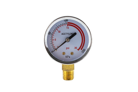 "Pressure Gauge for Acetylene Regulator - 1/4"" Connector"