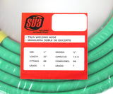 "25 FEET Grade T 1/4"" OxyFuel Welding & Cutting Twin Hose with BB Fittings SÜA"