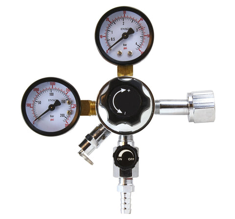 CO2 Regulator for Beer and Soda Keg and Dispensing System - CGA-320 - With Relief and Shut-Off Valve