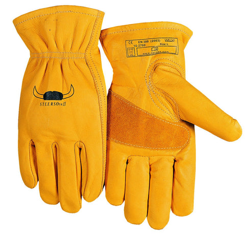 (15 PAIRS) Weldas STEERSOtuff Yellow Top Grain Cowhide, Keystone Thumb - Material Handling/Work Driver´s Style Gloves - Size L