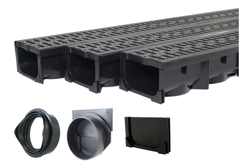 "Drainage Trench - Channel Drain With Grate - Black Plastic - 3 x 39"" - 117"" long"