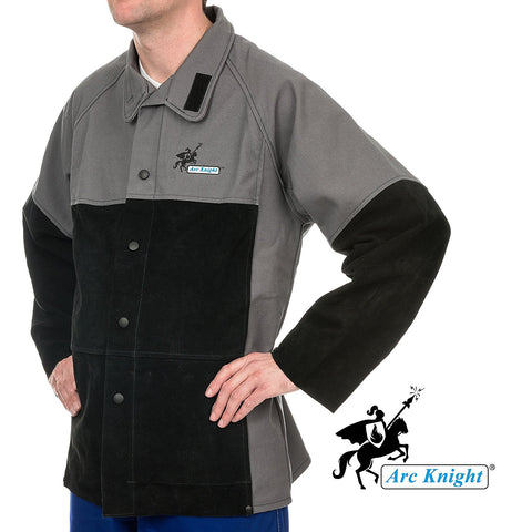 Weldas Arc Knight Versatile Heavy Duty Welding Jacket - Cotton and Leather Sleeves - Grey/Black