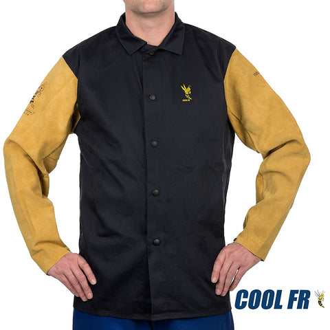 Weldas COOL FR Welding/Fire Retardant/Dielectric Jacket - Cotton and Leather Kevlar Sewn Sleeves - Navy Blue