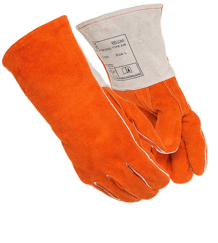 "(4 PAIRS) Weldas All Purpose Welding/BBQ/Heat Resistant Gloves, Straight Thumb, Kevlar Sewn 14"" inches - Size L"