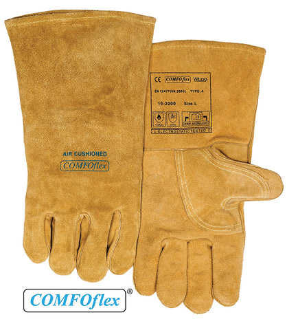 (2 PAIRS) Weldas COMFOflex Air Cushioned - Split Leather Premium Welding Gloves - Cotton/Foam Lined - 14 inches - Size S
