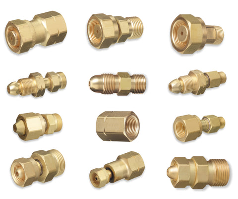 Cylinder to Regulator Acetylene Adaptors. CGA-200, CGA-300, CGA-510 and CGA-520