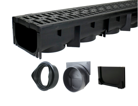 Drainage Trench - Channel Drain With Grate - Black Plastic - 39""