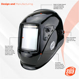 "SÜA Welding Helmet  - Model: Vector - Auto Darkening - Largest Viewing Area: 4"" x 4"" - Photovoltaic Powered - Ergonomic Headgear"