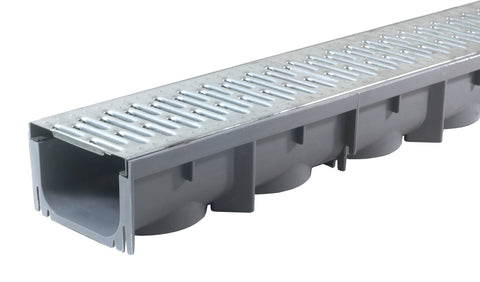 "Drainage Trench - Channel Drain With Galvanized Steel Grate - Plastic - 39"" Long"