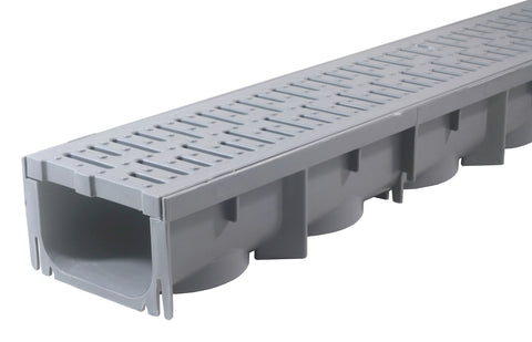 Drainage Trench - Channel Drain With Grate - Gray Plastic - 39""