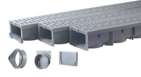 "Drainage Trench - Channel Drain With Grate - Gray Plastic - 3 x 39"" - (117"" Total Length)"