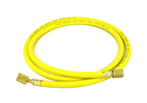 "Refrigeration Hose - 60"" (150cm) - Working Pressure: 800 PSI -1/4"" Female Flare Brass Knurled  Fittings with PTFE Gasket Seats - 45° Angle Connector."