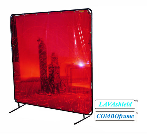 Orange Low-Visibility LAVAshield® Welding Screen - 6' x 8'- 16 mil - (Screen and Frame)