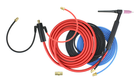 Water Cooled TIG Torch - 3-Piece Cable - INLINE Gas Dinse 35-70 Connector (Welders with Gas Solenoid)