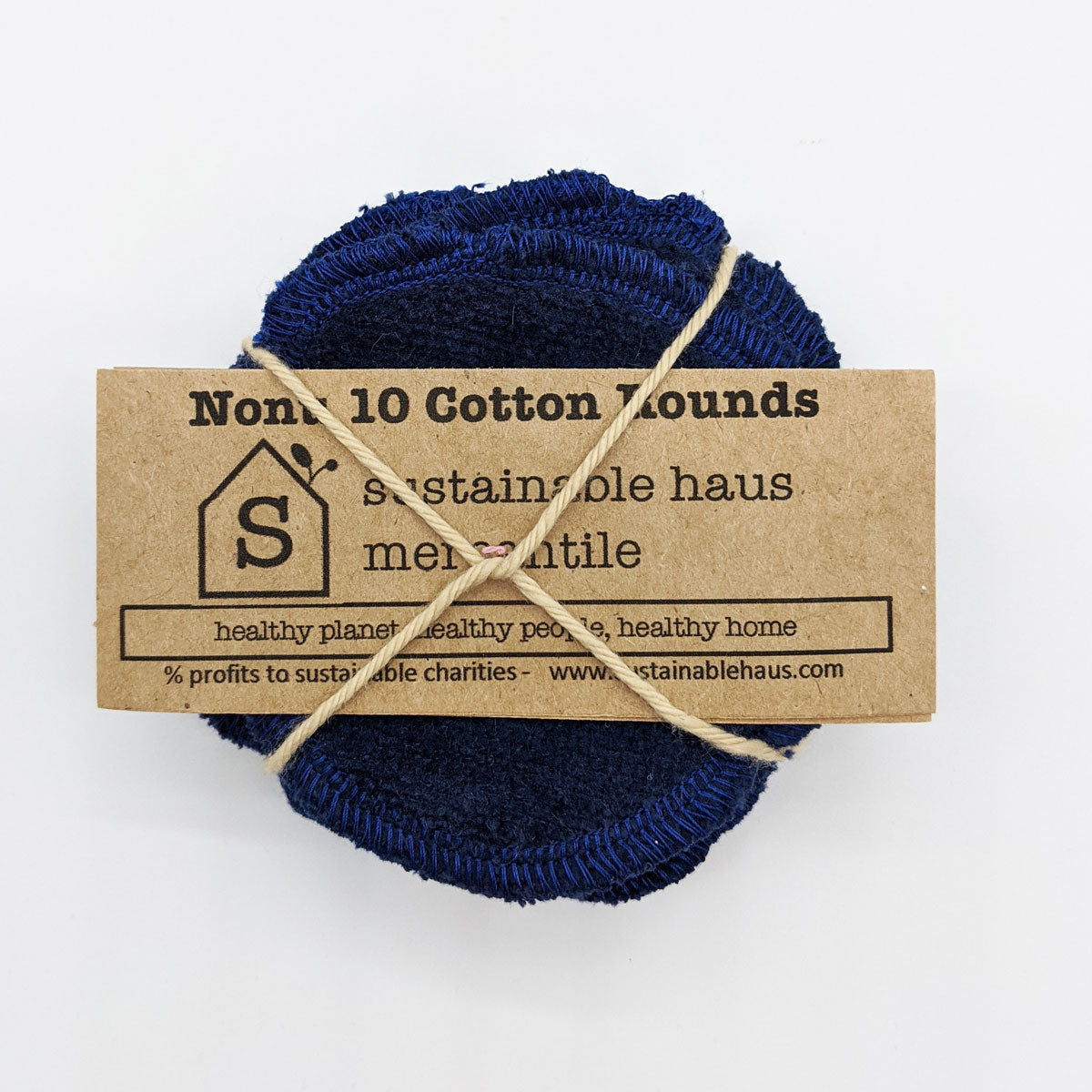 sustainable haus Reusable Cotton Rounds (10) - navy blue