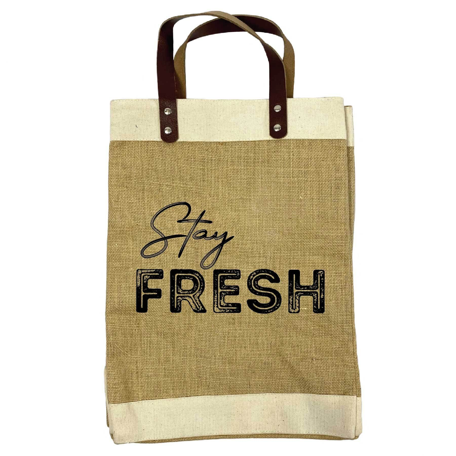 Stay Fresh Burlap Market Tote