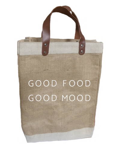 Good Food Good Mood Burlap Market Tote