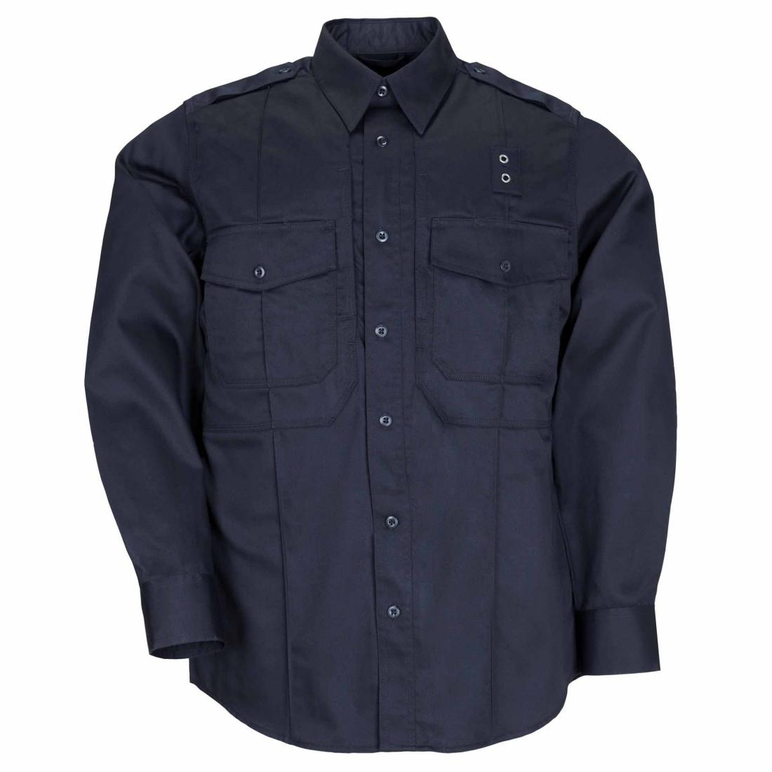5.11 Tactical 72366 Men Taclite PDU Class- B Long Sleeve Shirt Midnight Navy Short - Small