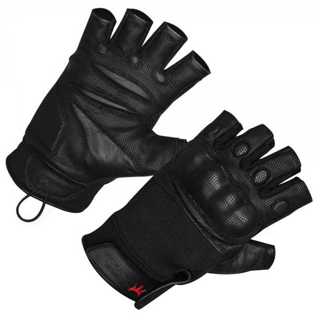 Rebel Tactical S.W.A.T. Force Half Finger Hard Knuckle Tactical Gloves - 2X-Large - Black