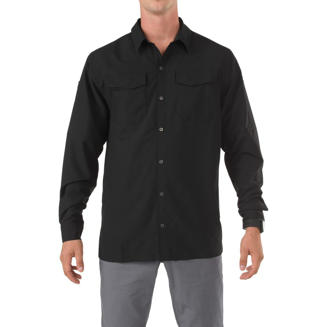 5.11 Tactical 72417 Men Freedom Flex Woven Long Sleeve Shirt Black