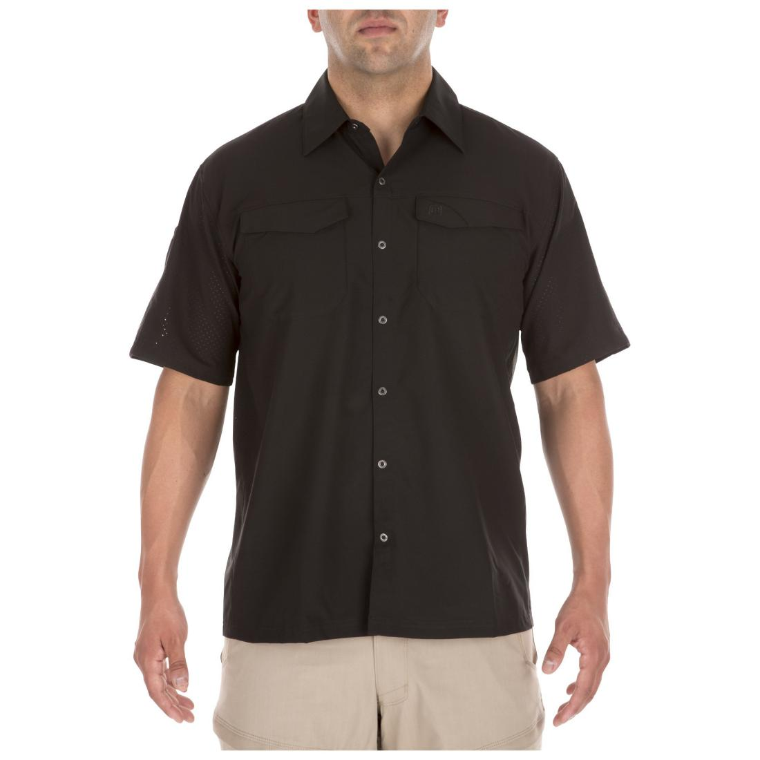 5.11 Tactical 71340 Men Freedom Flex Woven Short Sleeve Shirt Black