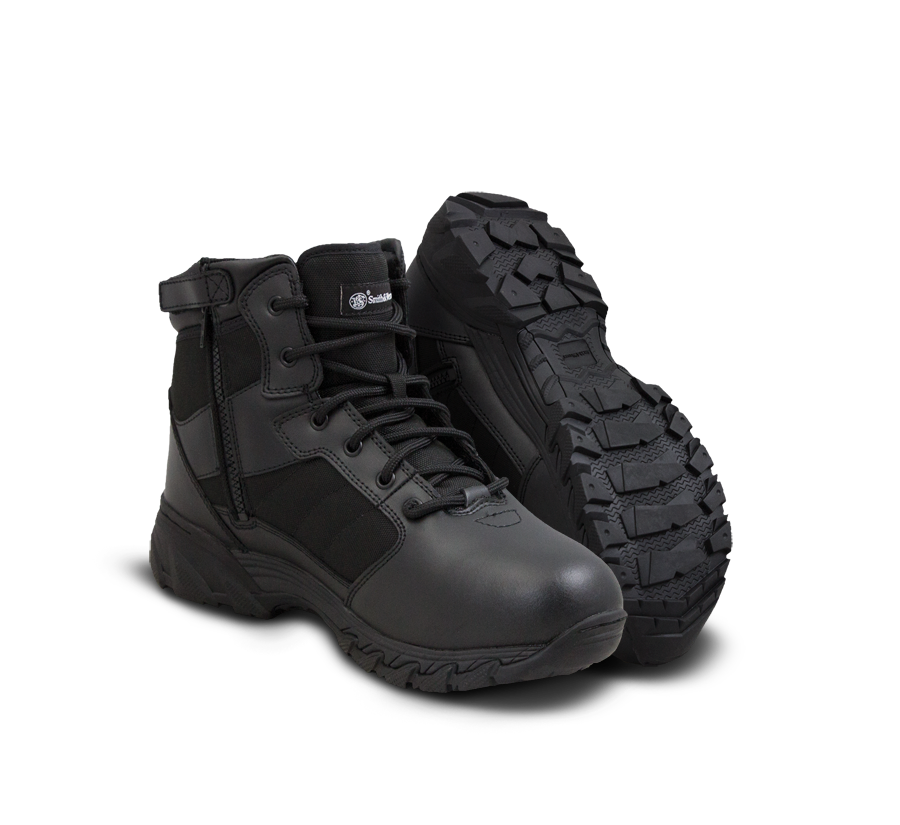 "Smith & Wesson Tactical Police Boots - Breach 2.0 6"" Side Zip Boots - Black"