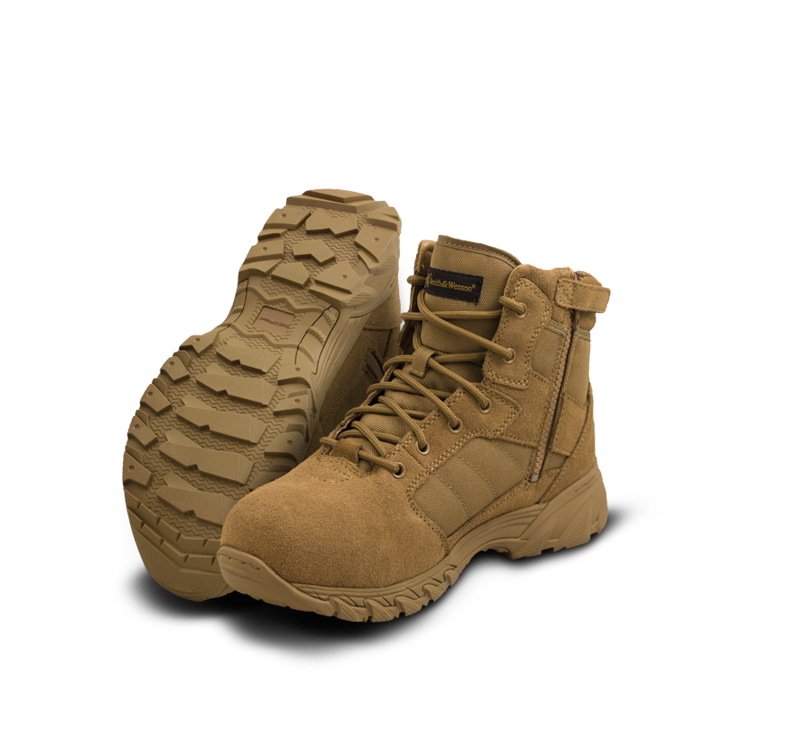 "Smith & Wesson Police Boots - Breach 2.0 6"" Side Zip Boots - Coyote"