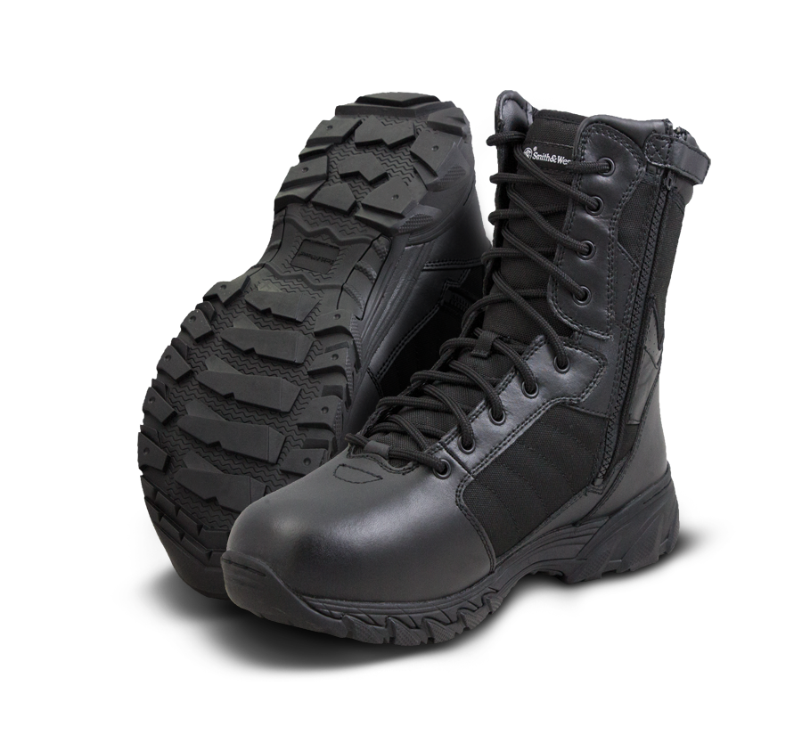 "Smith & Wesson Tactical Police Boots - Breach 2.0 8"" Side Zip Boots - Black"