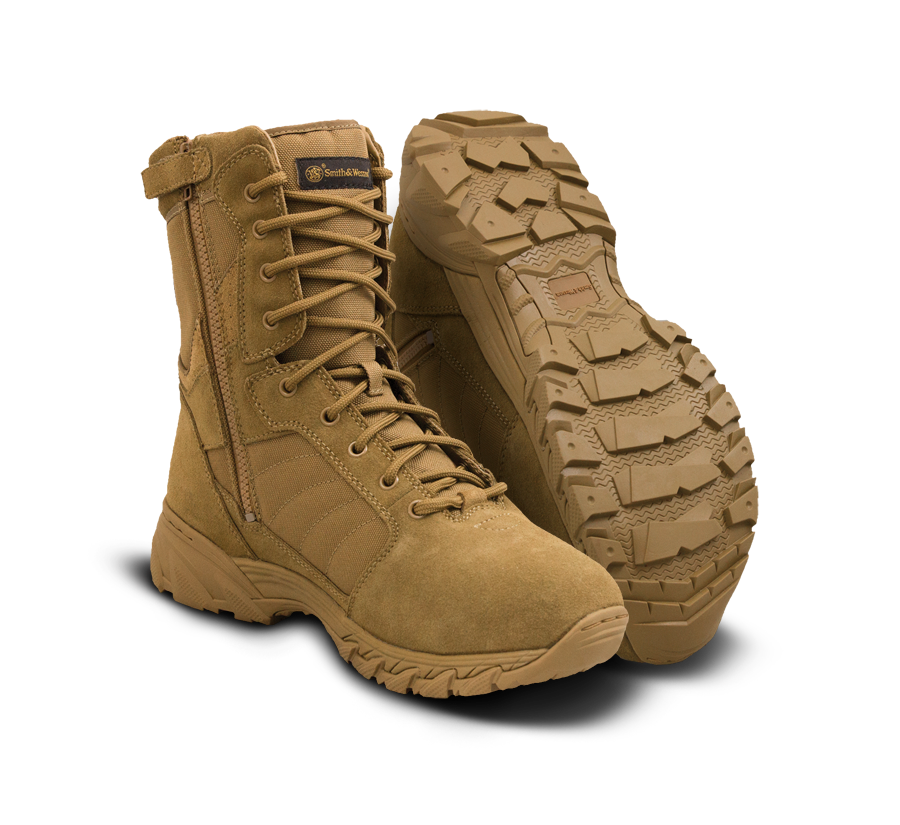 "Smith & Wesson Tactical Police Boots - Breach 2.0 8"" Side Zip Boots - Coyote"