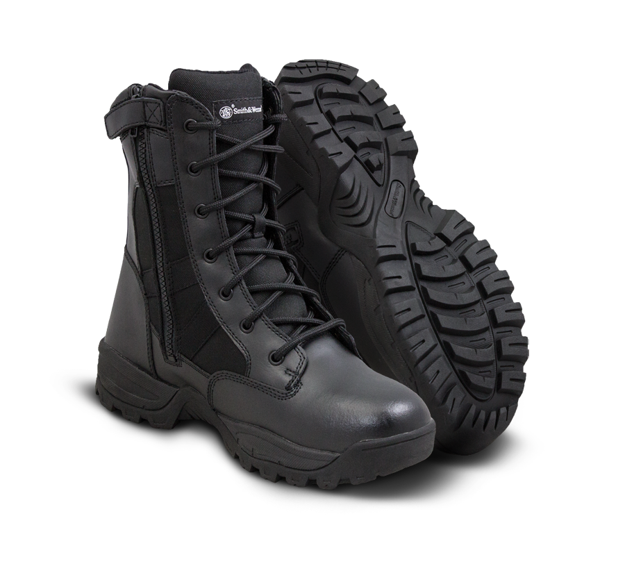 "Smith & Wesson Police Boots - Breach 2.0 8"" Side Zip Waterproof Boots - Black"