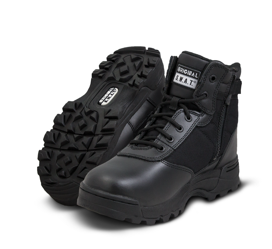 "Original SWAT Tactical Police Boots - Classic 6"" Waterproof Side Zip Safety Boots"